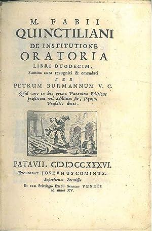 M. Fabii Quinctiliani De institutione oratoria libri: Quintilianus, Marcus Fabius