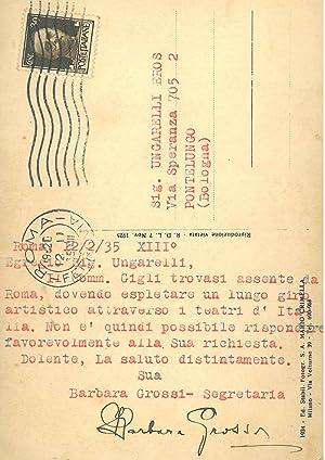 Cartolina viaggiata, illustrata con foto di scena: Grossi Barbara
