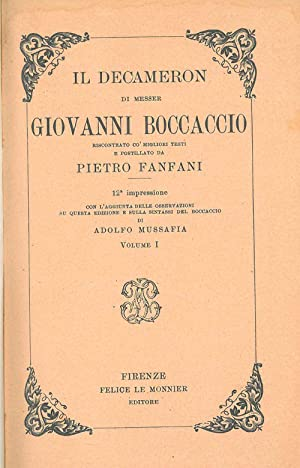 Il Decameron di Messer Giovanni Boccaccio riscontrato: Boccaccio Giovanni