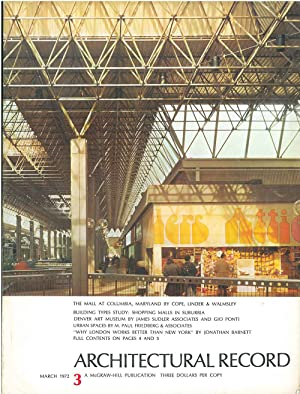 Architectural Record, n. 3, March 1972. Building Types study: Shopping malls in suburbia
