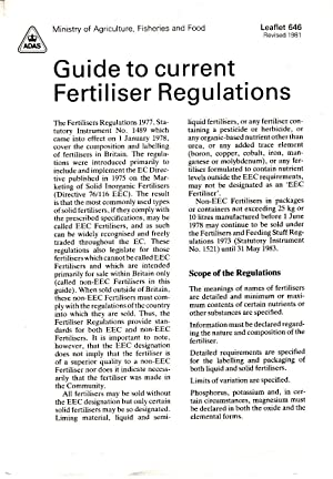 Guide to Current Fertiliser Regulations | MAFF leaflet no 646, revised 1981