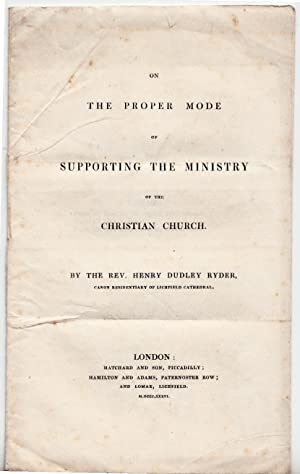 On the Proper Mode of Supporting the Ministry of the Christian Church: Ryder, Rev Henry Dudley