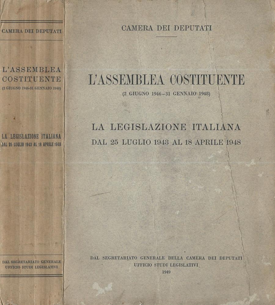 L 39 assemblea costituente 2 giugno 1946 31 gennaio 1948 la for Numero deputati