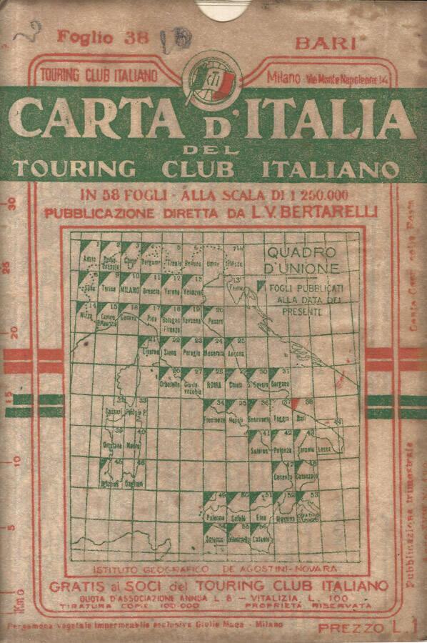 Cartina Geografica Italia Bari.Carta D Italia Foglio 38 Bari De L V Bertarelli Touring Club