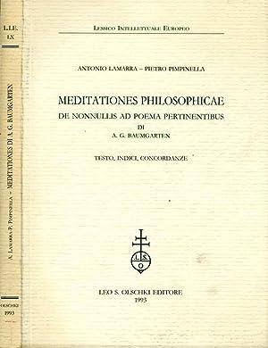 Meditationes Philosophicae DE NONNULLIS AD POEMA PERTINENTIBUS: A. G. Baumgarten