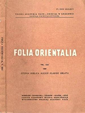 Folia orientalia (vol. XXI) studia biblica alexio: AA.VV.
