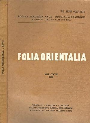Folia orientalia (vol. XXVII): AA.VV.