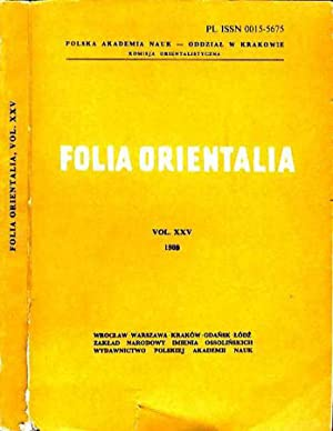 Folia orientalia (vol. XXV): AA.VV.