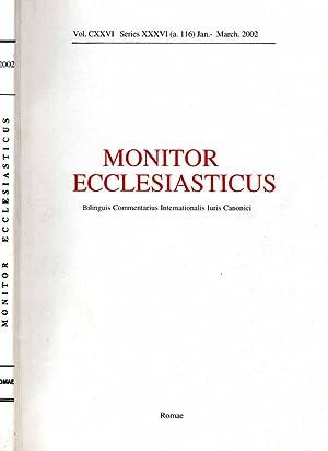 MONITOR ECCLESIASTICUS series XXXVI vol.CXXVI del 2002: AAVV