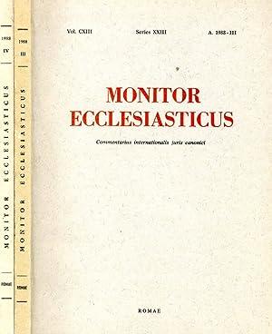 MONITOR ECCLESIASTICUS N.III-IV del 1988 COMMENTARIUS INTERNATIONALIS: AAVV