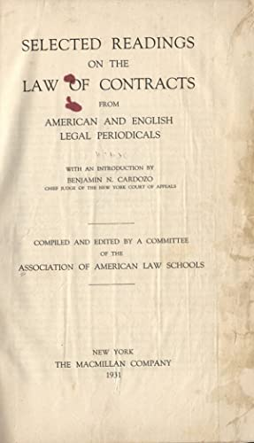 Selected readings on the law of contracts from american and english legal periodicals