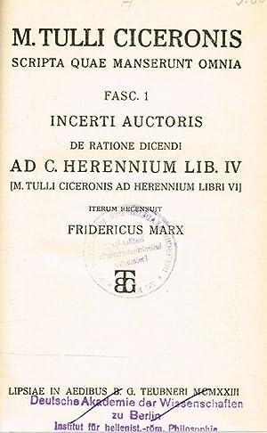 AD C. HERENNIUM lib.IV SCRIPTA QUAE MANSERUNT: M. TULLI CICERONIS
