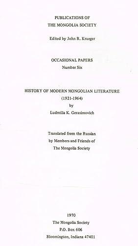 HISTORY OF MODERN MONGOLIAN LITERATURE 1921 1964: LUDMILLA K.GERASIMOVICH