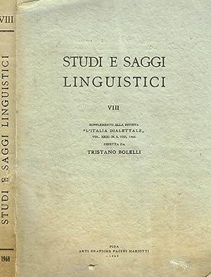STUDI E SAGGI LINGUISTICI vol.VIII SUPPLEMENTO ALLA: AA.VV
