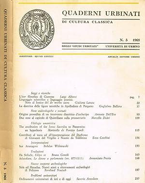QUADERNI URBINATI DI CULTURA CLASSICA n.5: BRUNO GENTILI direttore