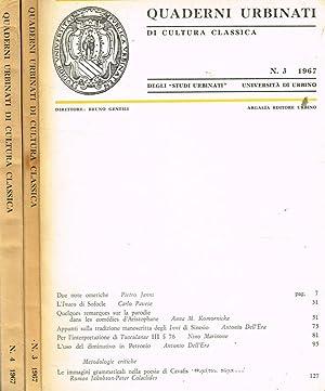 QUADERNI URBINATI DI CULTURA CLASSICA n. 3: BRUNO GENTILI direttore