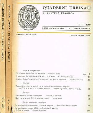 QUADERNI URBINATI DI CULTURA CLASSICA n.7 e: BRUNO GENTILI direttore