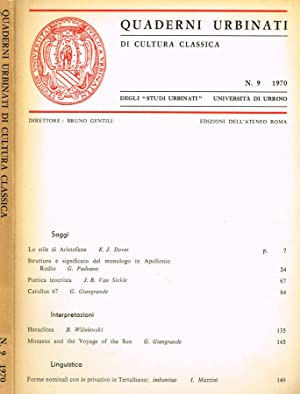 QUADERNI URBINATI DI CULTURA CLASSICA n.9: BRUNO GENTILI direttore