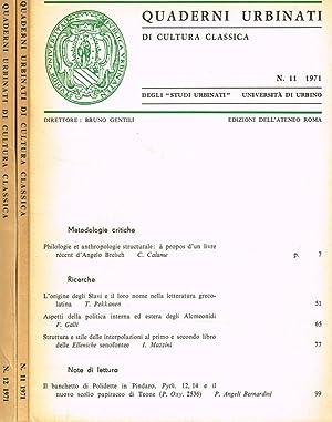 QUADERNI URBINATI DI CULTURA CLASSICA n. 11: BRUNO GENTILI direttore