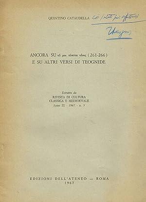 ANCORA SU (261-266) E SU ALTRI VERSI: QUINTINO CATAUDELLA
