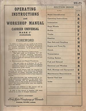 Operating Instructions and Workshop Manual carrier universal Mark I (Canadian)