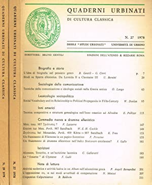 QUADERNI URBINATI DI CULTURA CLASSICA N.27 29: BRUNO GENTILI direttore