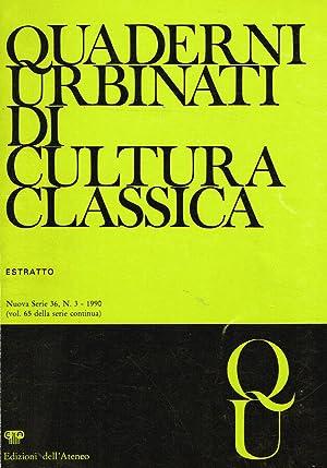 QUADERNI URBINATI DI CULTURA CLASSICA N.S. 36: AA.VV