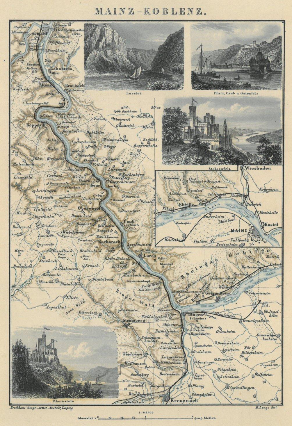 Mittelrheintal Karte.Rhein Mittelrhein Karte