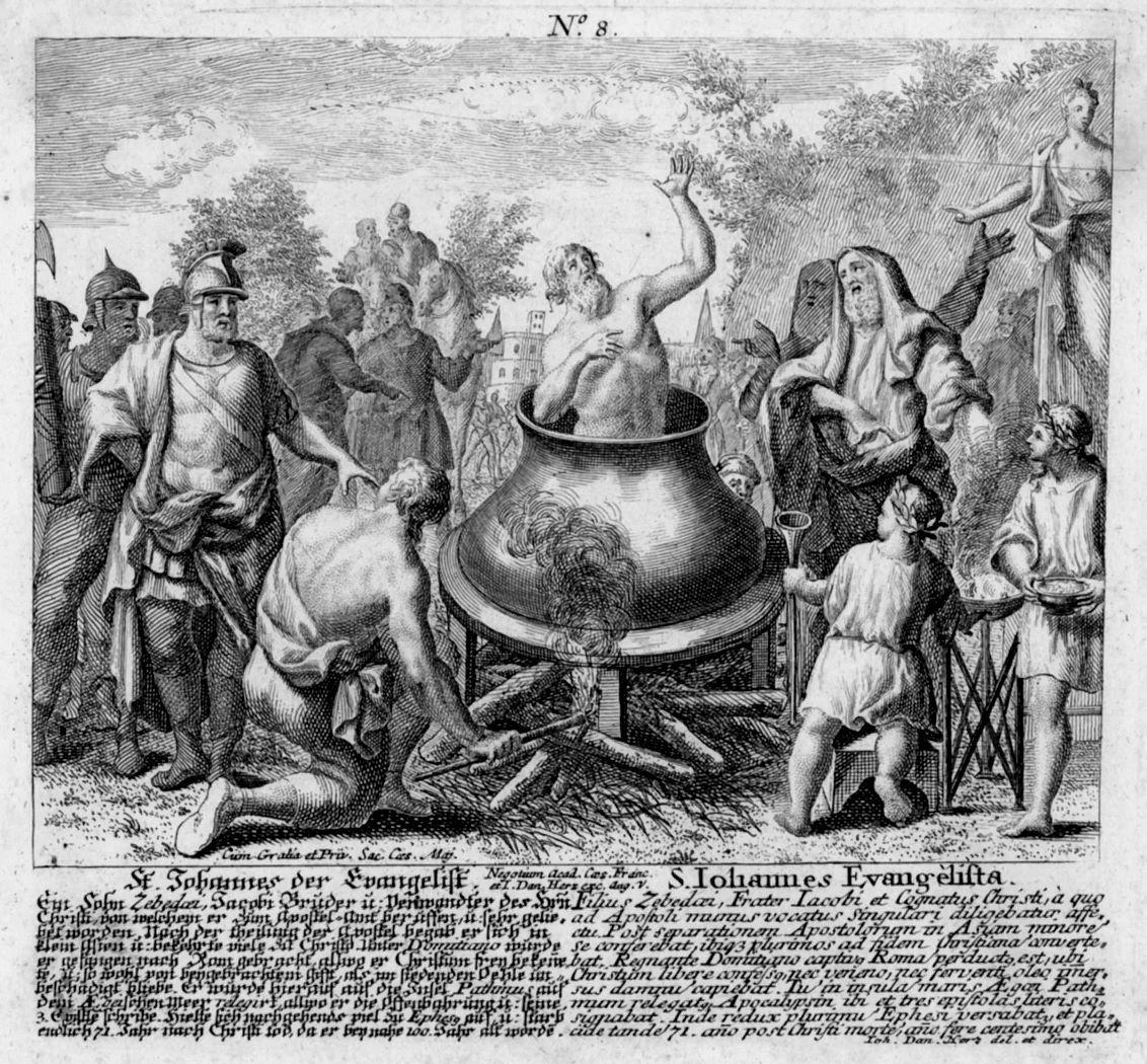 JOHANNES Evangelist. Das Martyrium durch Sieden in einem Kessel mit ...