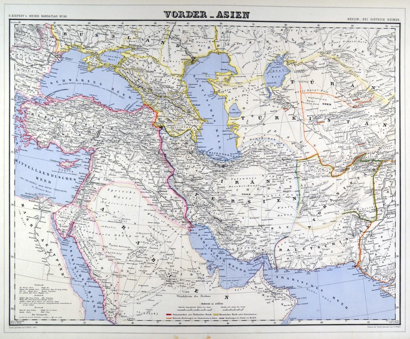 Persien Karte.Vorderasien Türkei Und Persien Karte