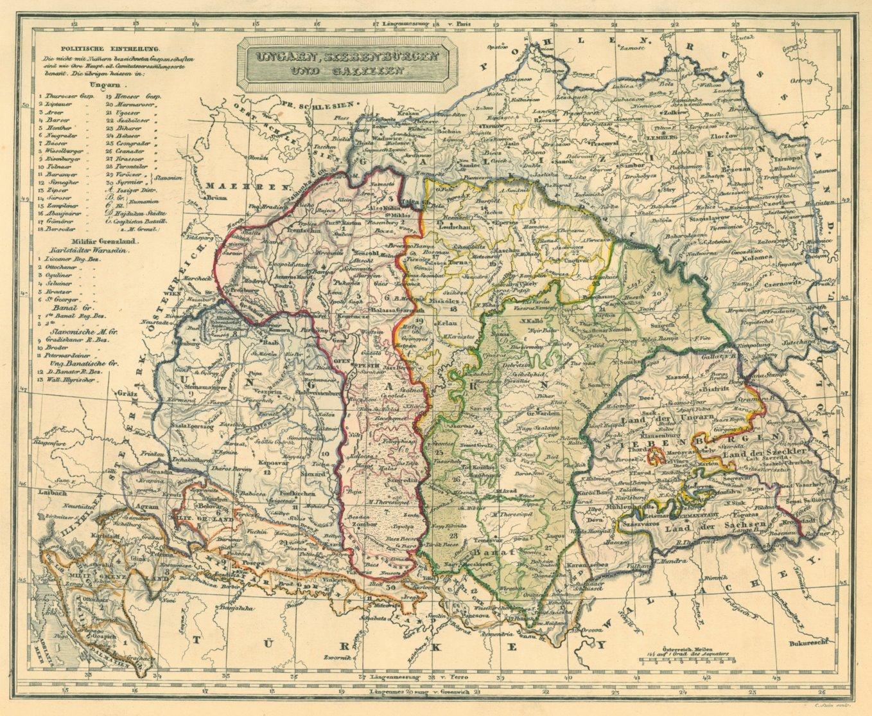 Ungarn Karte Ungarn Siebenburgen Und Galizien Kunst Nbsp