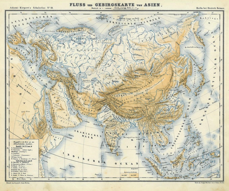 Karte Asien.Asien Gebirge Und Gewässer Karte