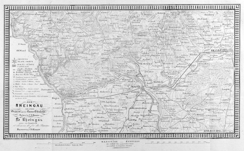 Rheingau Karte Der Rheingau Mit Seinen Granzen Und Der Taunus