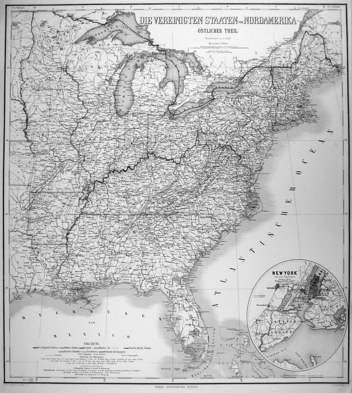 Usa Ostkuste Karte Die Vereinigten Staaten Von Nordamerika
