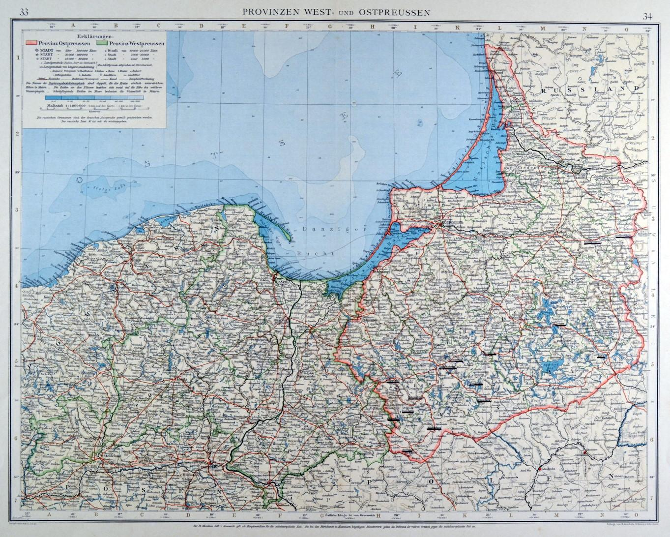 ostpreußen karte OST  und WESTPREUSSEN.   Karte.