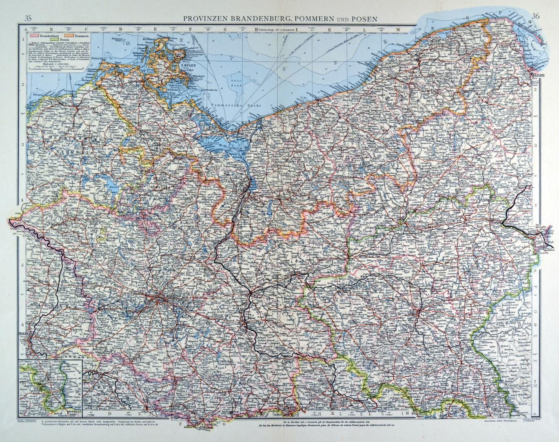 Brandenburg Pommern Karte Provinzen Brandenburg Pommern