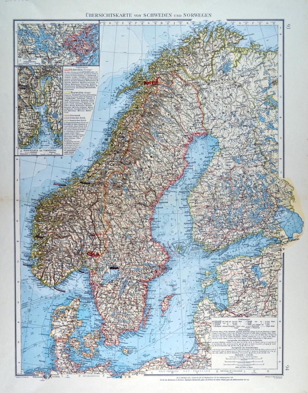 Karte Norwegen Schweden.Skandinavien Karte