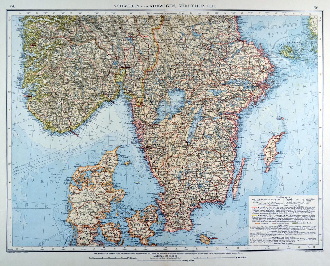 Karte Norwegen Dänemark.Skandinavien Karte