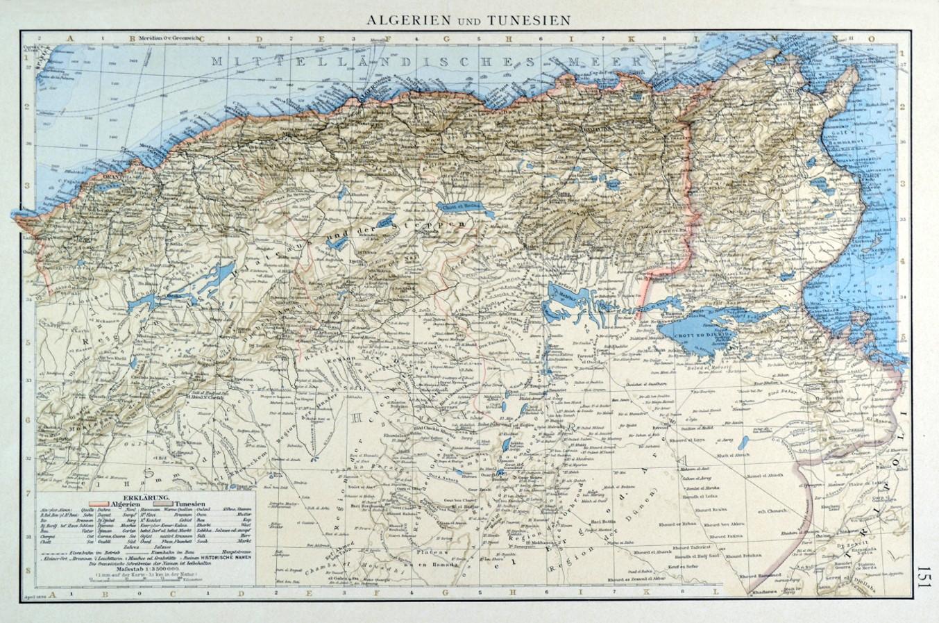 Tunesien Karte.Algerien Karte