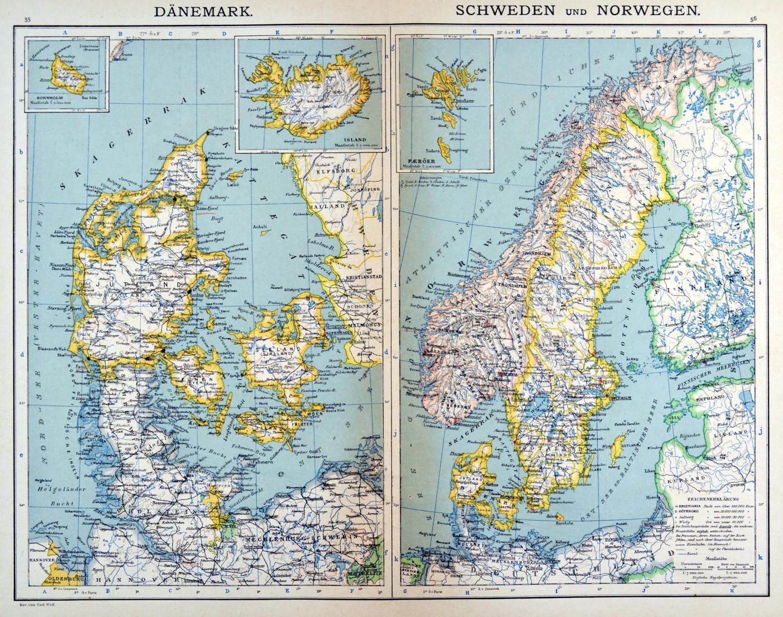 Skandinavien Karte Danemark Und Schweden Und Norwegen Mit