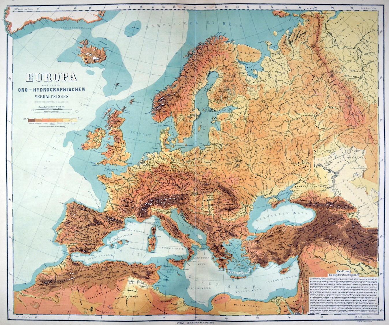 Europa Gebirge Und Gewasser Karte Europa Nach Seinen Oro
