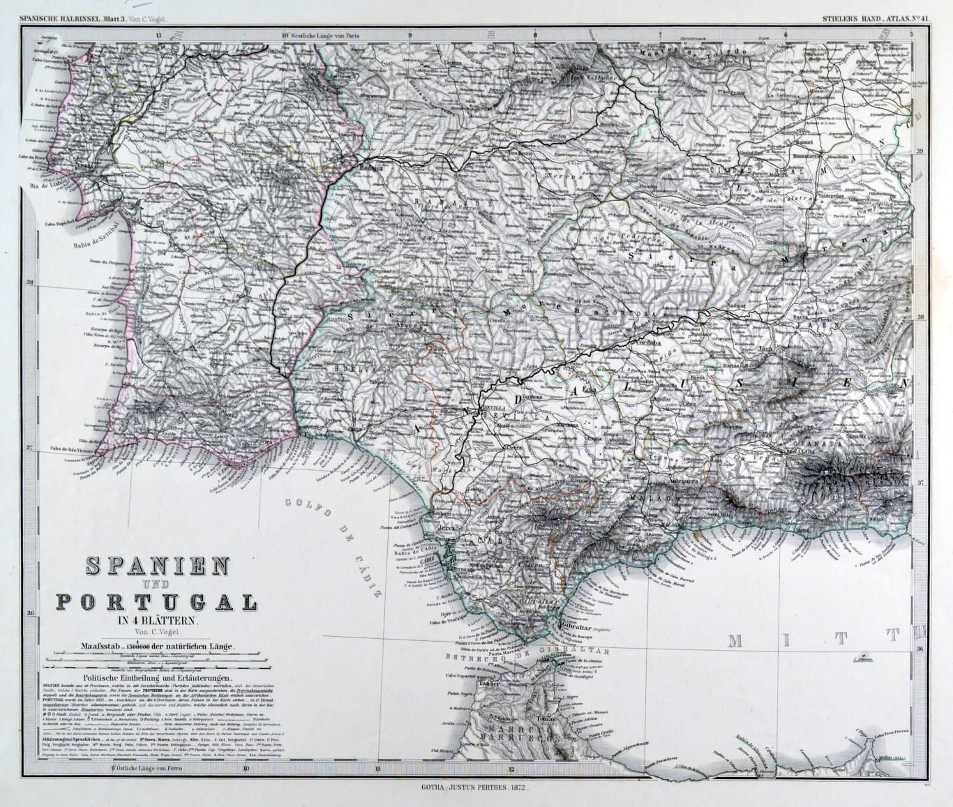 Karte Gibraltar Umgebung.Spanien Und Portugal Karte