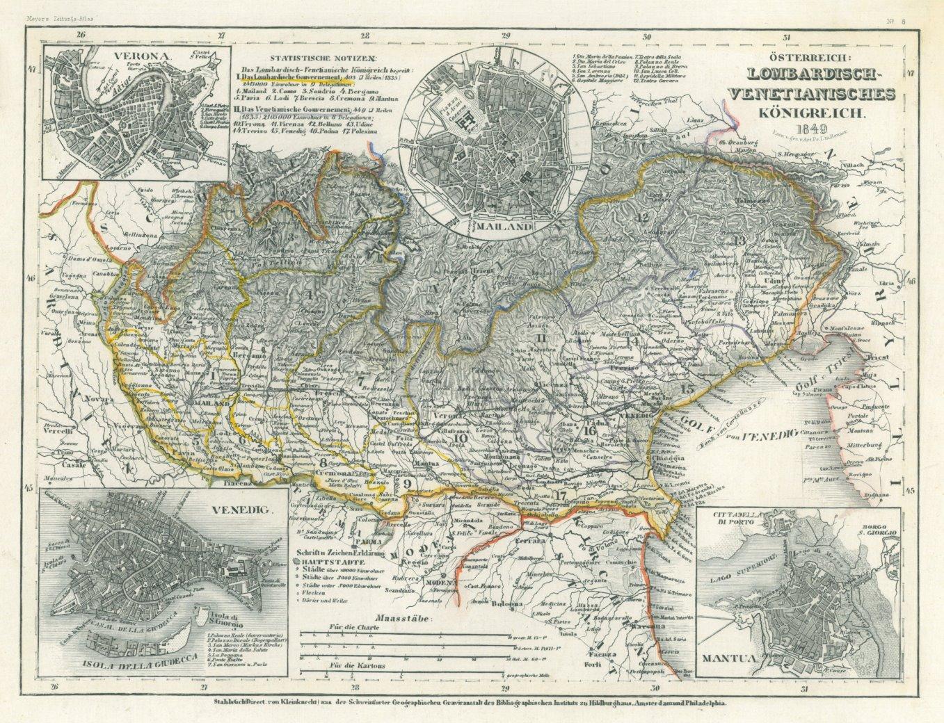 Italien Norditalien Karte Osterreich Lombardisch