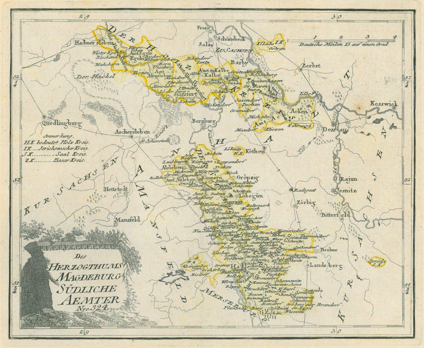 Magdeburg Karte Des Herzogthums Magdeburg Sudliche Aemter Nro