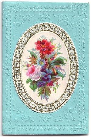 TAUFE. - Taufbrief. Auffaltbarer Briefumschlag mit geprägten hellblauen Ornamenten, darauf ...