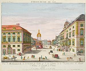 """WIEN. """"Vue de Hochenmarck, de l'Hotel de Ville, et de la Colonne de la Desponsation de ..."""