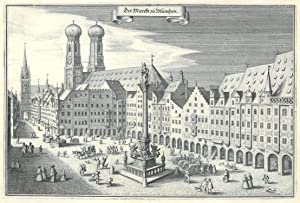 """MÜNCHEN. - Marienplatz. """"Der Marckt zu München"""". Ansicht des Marienplatzes mit ..."""