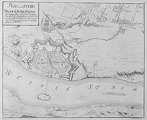 """THORN. """"Plan von der Stadt Thorn"""". Befestigungs- und Stadtplan mit Belagerung."""