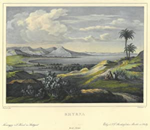"""IZMIR (Smyrna). """"Smyrna"""". Blick aus der Ferne, von einer Anhöhe, über die Bucht..."""