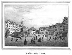 ZITTAU. Marktplatz mit Rathaus und Brunnen.